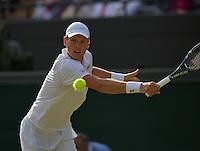 01-07-13, England, London,  AELTC, Wimbledon, Tennis, Wimbledon 2013, Day seven, Tomas Berdych (CZE)<br /> <br /> <br /> <br /> Photo: Henk Koster