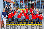 The junior infants in Holy Cross Mercy NS withclass teacher Triona Sheehy teacher Barbara Dineen and Rhea Prendergast SNA on their first day of school on Monday