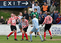 Goalmouth action in front of the clubhouse end exit during the Ryman League match between Grays and Hornchurch - Grays Athletic Football Club - 03/04/04 - MANDATORY CREDIT: Gavin Ellis/TGSPHOTO
