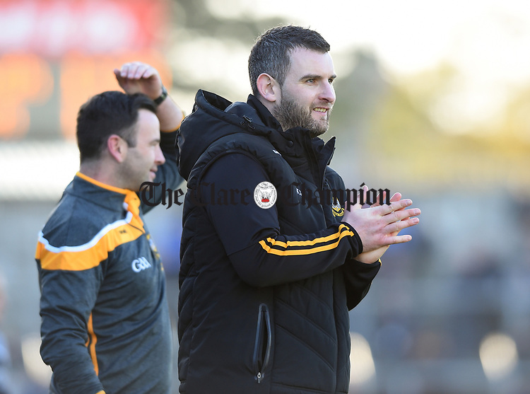 Ballyea manager Kevin Sheehan realises they're nearly there in the final minutes of the county senior hurling final against Cratloe at Cusack Park. Photograph by John Kelly.