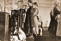 """Histoirical Views:  Lewis Hine Photograph """"Young Girls Knitting Stockings in Southern Hosiery MIll, 1910"""".   Photo '78.  Reference only."""
