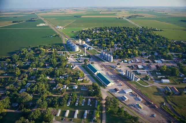 Railroad slicing through town on the prairie