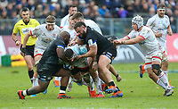 16 November 2019; Marcell Coetzee is tackled by Beno Obano and Mike Williams during the Heineken Champions Cup Pool 3 Round 1 match between Bath and Ulster at The Recreation Ground in Bath, England. Photo by John Dickson/DICKSONDIGITAL