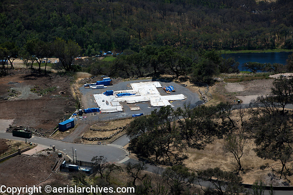 Aerial photograph of new construction in the aftermath of the northern California wildfires, Santa Rosa, Sonoma County, California