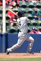 Mobile BayBears third baseman Garrett Weber (4) at bat during a game against the Huntsville Stars on April 23, 2014 at Joe Davis Stadium in Huntsville, Tennessee.  Huntsville defeated Mobile 4-1.  (Mike Janes/Four Seam Images)