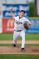 Princeton Rays relief pitcher Justin Montgomery (19) delivers a pitch during the second game of a doubleheader against the Greeneville Reds on July 25, 2018 at Hunnicutt Field in Princeton, West Virginia.  Greeneville defeated Princeton 8-7.  (Mike Janes/Four Seam Images)