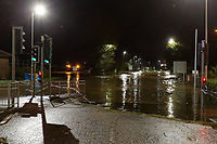 Pictured: The flooded A4242 which runs through the city centre in Carmarthen, Wales, UK. Saturday 13 October 2018<br /> Re: River Towy has burst its banks and adjacent properties have flooded, caused by storm Callum, in Carmarthen, west Wales, UK.