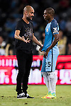 Manchester City Manager Pep Guardiola (l) instructs City midfielder Fernandinho Roza (r) during the match against Borussia Dortmund at the 2016 International Champions Cup China match at the Shenzhen Stadium on 28 July 2016 in Shenzhen, China. Photo by Victor Fraile / Power Sport Images