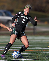 Wilmington University forward Chelsea Grace (8) attempts to control the ball at midfield. . In 2012 NCAA Division II Women's Soccer Championship Tournament First Round, College of St Rose (white) defeated Wilmington University (black), 3-0, on Ronald J. Abdow Field at American International College on November 9, 2012.