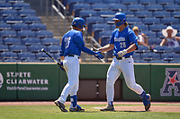 Memphis Tigers Austin Baskin (26) congratulates Alec Trela (29) after a home run during a game against the East Carolina Pirates on May 25, 2021 at BayCare Ballpark in Clearwater, Florida.  (Mike Janes/Four Seam Images)