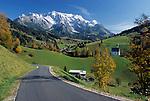 Oesterreich, Herbststimmung im Salzburger Land, Dienten mit Kirche auf dem Buehel vorm Hochkoenig (2.941 m) | Austria, autumn at Salzburger Land, Dienten with church and Hochkoenig mountain range (2.941 m)