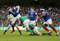 Sunday10th March 2019 | Ireland vs France<br /> <br /> Felix Lambey is tackled by Jack Conan and Peter O'Mahony during the Guinness 6 Nations clash between Ireland and France at the Aviva Stadium, Lansdowne Road, Dublin, Ireland. Photo by John Dickson / DICKSONDIGITAL