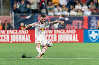 FOXBOROUGH, MA - JUNE 23: Thomas Edwards #7 of New York Red Bulls passes the ball during a game between New York Red Bulls and New England Revolution at Gillette Stadium on June 23, 2021 in Foxborough, Massachusetts.
