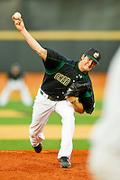 Relief pitcher Wes Hatley #25 of the Charlotte 49ers in action against the Wake Forest Demon Deacons at Gene Hooks Field on March 22, 2011 in Winston-Salem, North Carolina.   Photo by Brian Westerholt / Four Seam Images