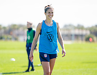 ORLANDO, FL - JANUARY 20: Carli Lloyd #10 of the USWNT laughs during a training session at the practice fields on January 20, 2021 in Orlando, Florida.