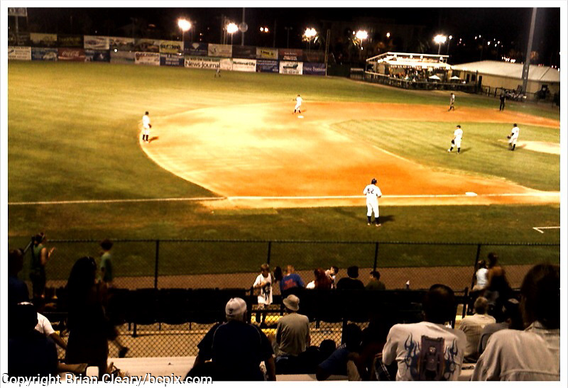 """Minor League baseball in Daytona Beach, FL.  Edited in """"Camera Bag"""" iPhone app.  Photo taken with iPhone 3G.  (Photo by Brian Cleary/www.bcpix.com)"""