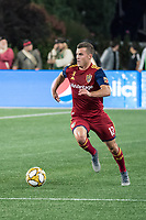 FOXBOROUGH, MA - SEPTEMBER 21: Brooks Lennon #12 of Real Salt Lake brings the ball forward during a game between Real Salt Lake and New England Revolution at Gillette Stadium on September 21, 2019 in Foxborough, Massachusetts.