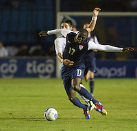 Guatemala's (3) Elias Vasquez and the USA's (17) Jozy Altidore fight for a loose ball as the United States played Guatemala at Estadio Mateo Flores in Guatemala City, Guatemala in a World Cup Qualifier on Tue. June 12, 2012.