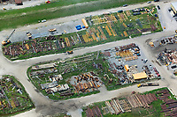 aerial photograph of rebuilding materials for  reconstruction after Hurricane Katrina Lower Ninth Ward, New Orleans, Louisiana