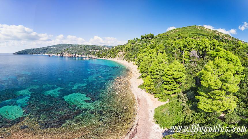 The beach Stafylos of Skopelos island from drone, Greece