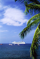 Cruise ship anchored of the Kona coast of the Big Island