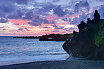 USA, HI, Maui, Hana, Waianapanapa SP, Black Sand Beach Dawn