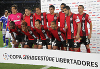 BOGOTA-COLOMBIA-19-02-2013 . Formación del equipo   Tijuana de México antes de su encuentro  con  Los Millonarios de Colombia   por el  grupo cinco  de  la ronda de clasificación de la Copa Bridgestone Libertadores . Team formation Tijuana Mexico before his encounter with the millionaires of Colombia by the group five of the qualifying round of the Copa Libertadores Bridgestone. ( Photo / VizzorImage / Felipe Caicedo / Staff