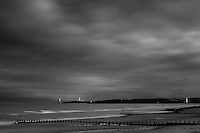 Girdle Ness and the North Sea from Aberdeen Beach at dusk, Aberdeenshire