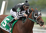 Royal Currier, ridden by Stewart Elliott, wins the 21st running of the six-furlong Gallant Bob Stakes for three-year-olds at  Parx Racing in Bensalem, PA, September 24, 2011. Trainer is Patricia Farro, owner is Mat Stables.  (Joan Fairman Kanes/Eclipse Sportswire)