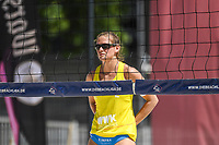27th June 2020, Dusseldorf, Germany; The German Beach Volleyball League;  Cinja Tillmann signals the play at the net