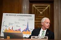 """United States Senator Ron Johnson (Republican of Wisconsin), Chairman, US Senate Committee on Homeland Security and Government Affairs presides at the US Senate Homeland Security and Governmental Affairs hearing titled """"CBP Oversight: Examining the Evolving Challenges Facing the Agency,"""" in Dirksen Senate Office Building on Thursday, June 25, 2020.  <br /> Credit: Alexander Drago / Pool via CNP/AdMedia"""