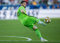 CARSON, CA - SEPTEMBER 29: GK Maxime Crepeau #16 of the Vancouver Whitecaps sends a ball during a game between Vancouver Whitecaps and Los Angeles Galaxy at Dignity Health Sports Park on September 29, 2019 in Carson, California.
