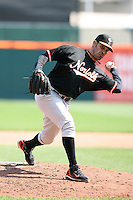 May 9, 2009:  Relief Pitcher Alberto Castillo of the Norfolk Tides, International League Class-AAA affiliate of the Baltimore Orioles, delivers a pitch during a game at Coca-Cola Field in Buffalo, FL.  Photo by:  Mike Janes/Four Seam Images