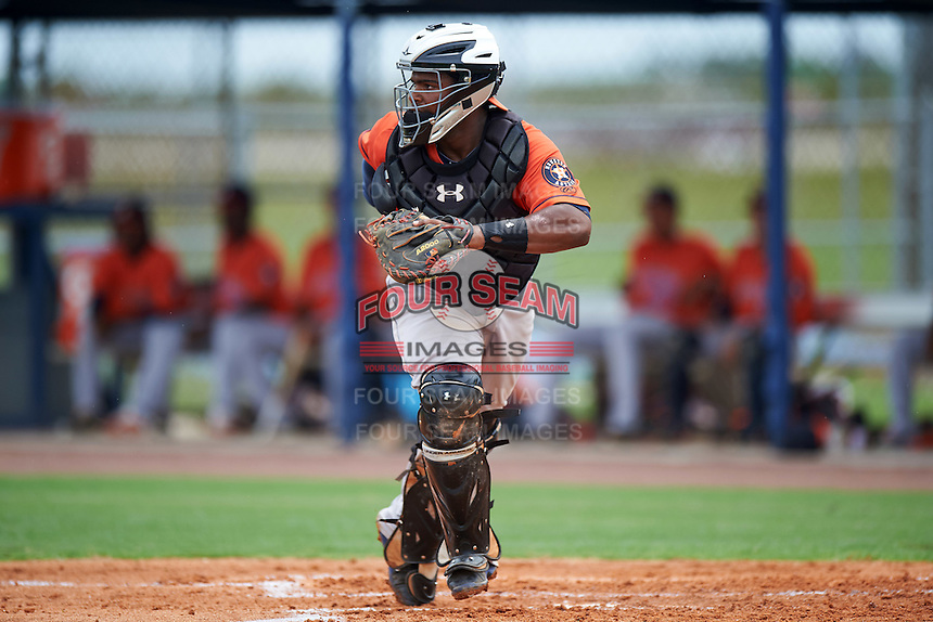 GCL Astros catcher Randy Vasquez (61) during a game against the GCL Nationals on August 14, 2016 at the Carl Barger Baseball Complex in Viera, Florida.  GCL Nationals defeated GCL Astros 8-6.  (Mike Janes/Four Seam Images)
