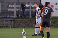 Estelle Dessilly (13) of Charleroi ready to start the female soccer game between Sporting Charleroi and Oud Heverlee Leuven on the 17 th matchday of the 2020 - 2021 season of Belgian Scooore Womens Super League , tuesday 30 th of March 2021  in Marcinelle , Belgium . PHOTO SPORTPIX.BE | SPP | STIJN AUDOOREN