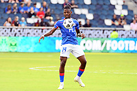 KANSAS CITY, KS - JULY 15: Leverton Pierre #14 of Haiti controls the ball during a game between Canada and Haiti at Children's Mercy Park on July 15, 2021 in Kansas City, Kansas.
