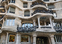 Cafe de la Pedrera, Casa Milà house designed by Antonio Gaudi, Barcelona, Spain.