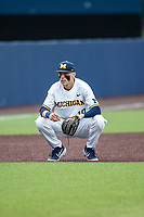 Michigan Wolverines third baseman Blake Nelson (10) during the NCAA baseball game against the Michigan State Spartans on May 7, 2019 at Ray Fisher Stadium in Ann Arbor, Michigan. Michigan defeated Michigan State 7-0. (Andrew Woolley/Four Seam Images)