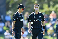 23rd March 2021; Christchurch, New Zealand;  Trent Boult and Matt Henry of the Black Caps talk during the 2nd ODI cricket match, Black Caps versus Bangladesh, Hagley Oval, Christchurch, New Zealand.