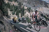 Polka Dot Jersey / KOM leader Warren Barguil (FRA/Sunweb) about to catch stage leader Atapuma in the final kilometers up the Col d'Izoard (HC/2360m/14.1km/7.3%)<br /> <br /> 104th Tour de France 2017<br /> Stage 18 - Briancon › Izoard (178km)
