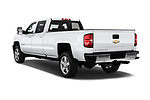 Car pictures of rear three quarter view of a 2018 Chevrolet Silverado 2500 LT Crew Cab 4 Door Pick Up angular rear