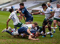 21st March 2021; AJ Bell Stadium, Salford, Lancashire, England; English Premiership Rugby, Sale Sharks versus London Irish; Connor Doherty of Sale Sharks drops the ball on the line