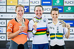 Katie Archibald of Great Britain celebrates winning the Women's Omnium Points Race 4/4 with Kirsten Wild of the Netherlands and Amy Cure of Australia during the 2017 UCI Track Cycling World Championships on 14 April 2017, in Hong Kong Velodrome, Hong Kong, China. Photo by Marcio Rodrigo Machado / Power Sport Images