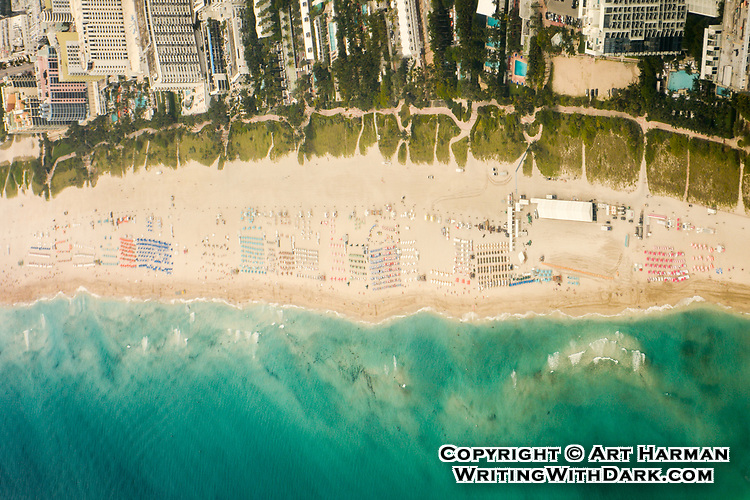 """""""Miami Beach"""" by Art Harman April 2014<br /> You can see the umbrellas, people and surf on the beach."""