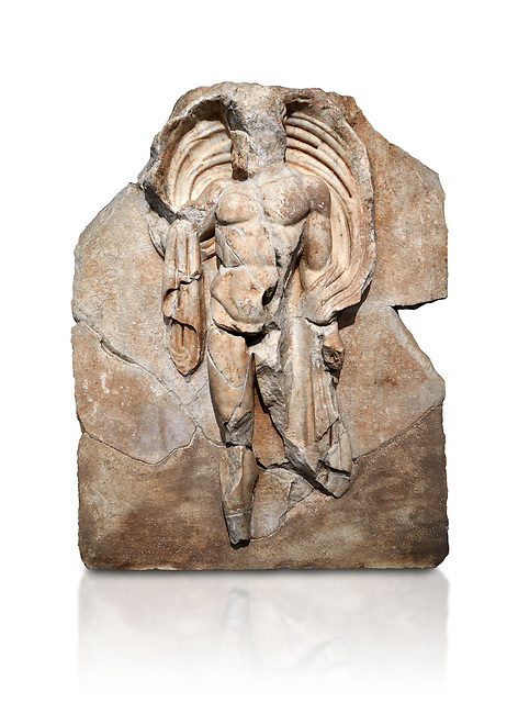 Roman Sebasteion relief sculpture of the god Okeanos (Ocean), Aphrodisias Museum, Aphrodisias, Turkey.   Against a white background.<br /> <br /> The bearded of Okeanos makes an epiphany, controlling his cloak which billows around his head. Ocean would be paired with Earth: together they represented empire without end, over land and sea