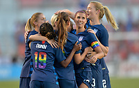 Sandy, Utah - Thursday June 07, 2018: Alex Morgan scores and celebrates with her USWNT team mates during an international friendly match between the women's national teams of the United States (USA) and China PR (CHN) at Rio Tinto Stadium.