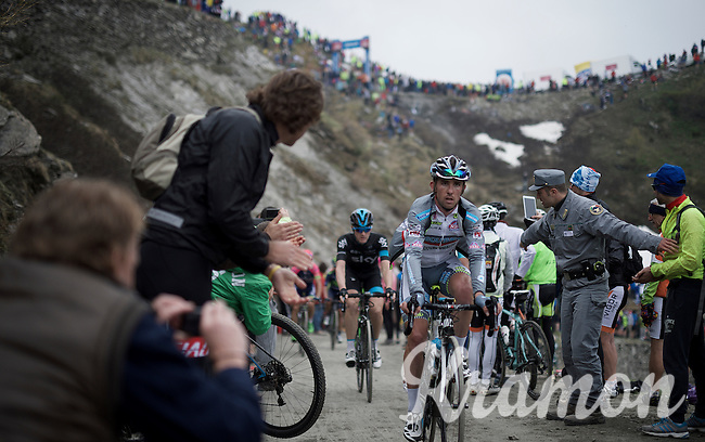 Lot's of fans cheering up the dirt roads of the Colle delle Finestre (2178m)<br /> <br /> Giro d'Italia 2015<br /> stage 20: Saint Vincent - Sestriere (199km)