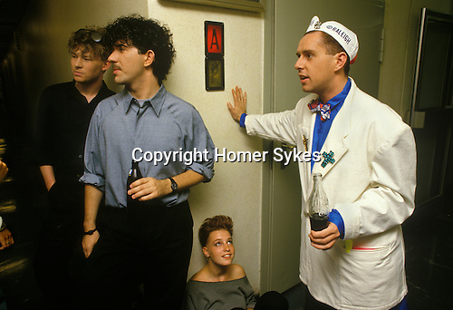 Brian Nash, Peter Gill, Holly Johnson, of Frankie Goes to Hollywood and teenage groupie back stage German TV dressing rooms 'Popcorn'.  Munich Germany. 1980s.