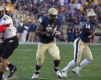 Pitt running back Isaac Bennett (34) scores on a 11-yard touchdown run as Ronald Jones (14) blocks. The Pitt Panthers defeated the Gardner-Webb Runnin Bulldogs 55-10 at Heinz Field, Pittsburgh PA on September 22, 2012..
