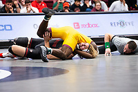 STANFORD, CA - March 7, 2020: Kordell Norfleet of Arizona State University and Nathan Traxler of Stanford during the 2020 Pac-12 Wrestling Championships at Maples Pavilion.
